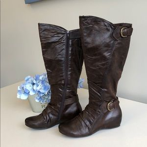 Wide Calf knee high brown boot